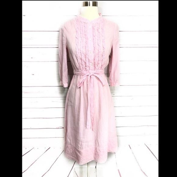 J. Crew Dresses & Skirts - J.Crew Linen Pink Pinstripe Spring Summer Dress